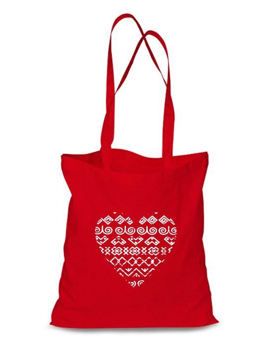 Plátená EKOlogická taška čičmanské srdce - dlhá rúčka Červená