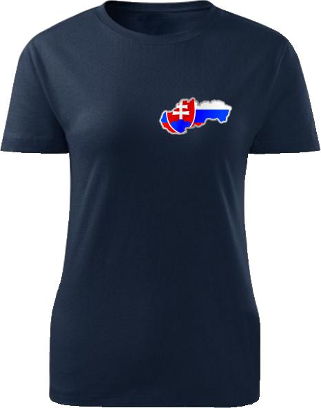 Tričko Slovenská republika Dámske klasik Námornícke modré