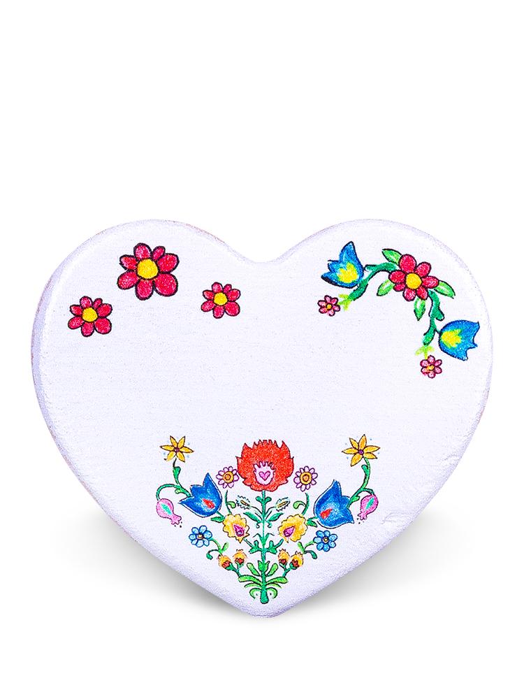 Drevená magnetka srdce biele - kvietky