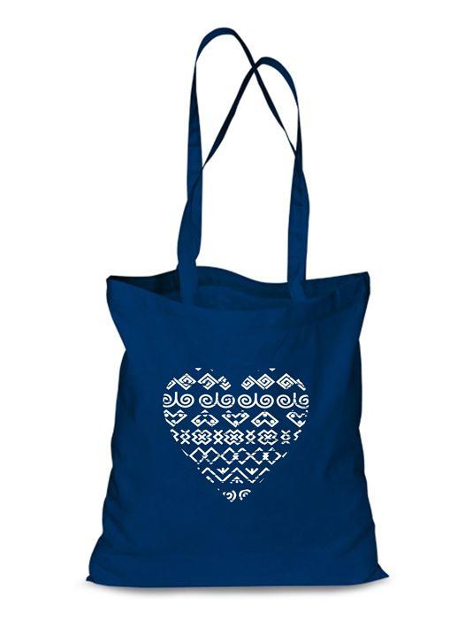 Plátená EKOlogická taška čičmanské srdce - dlhá rúčka Modrá