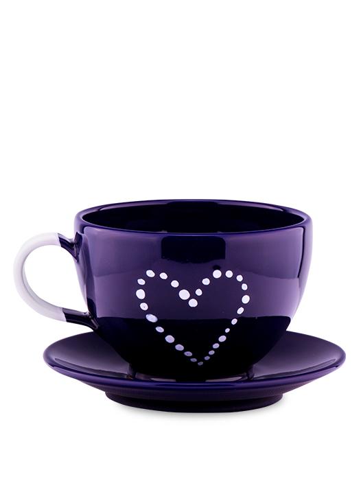 Šálka s tanierikom modrá srdce bodky
