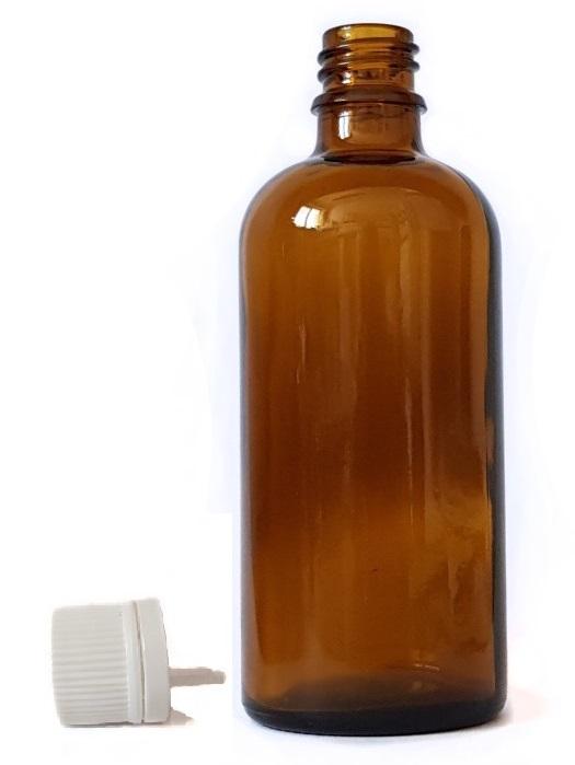 Sklenená fľaška 18mm hrdlo + uzáver s kvapátkom 100ml
