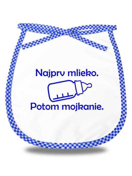 Detský podbradník najprv mlieko potom mojkanie Modrý