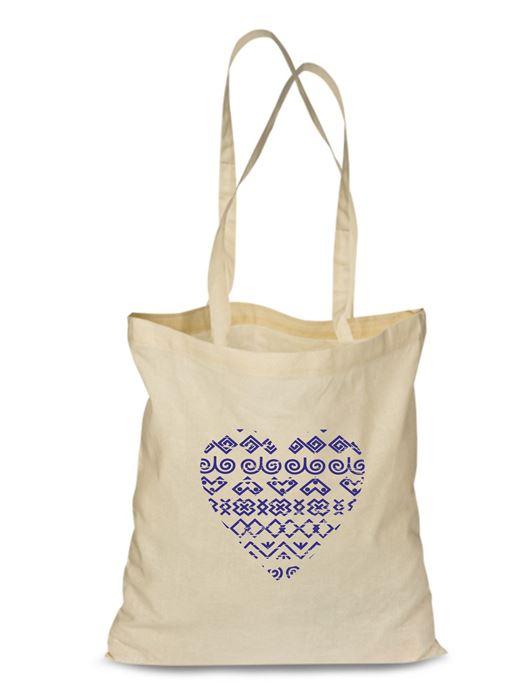 Plátená EKOlogická taška čičmanské srdce - dlhá rúčka Natural