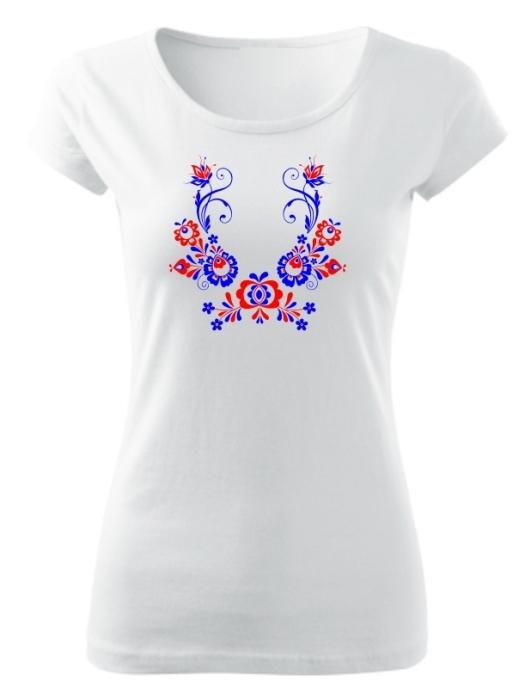Tričko folklórna košieľka Dámske pure Biele