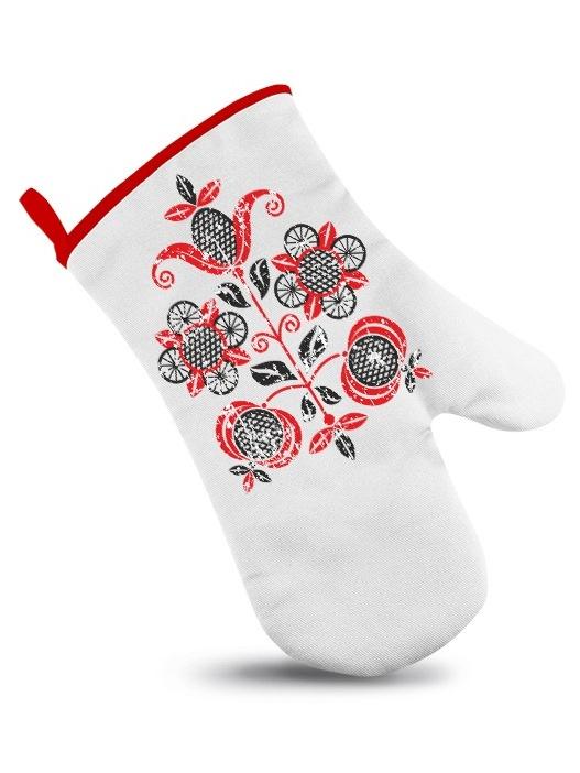 Ľudová chňapka folklórny kvet retro Biela