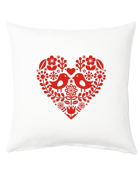 Vankúš folklórne srdce červené 40x40 cm