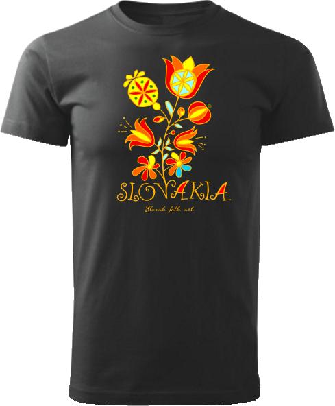 Tričko Slovakia kvet Unisex Čierne