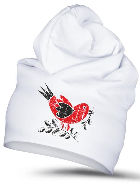 Folklórna čiapka vrabec retro Biela