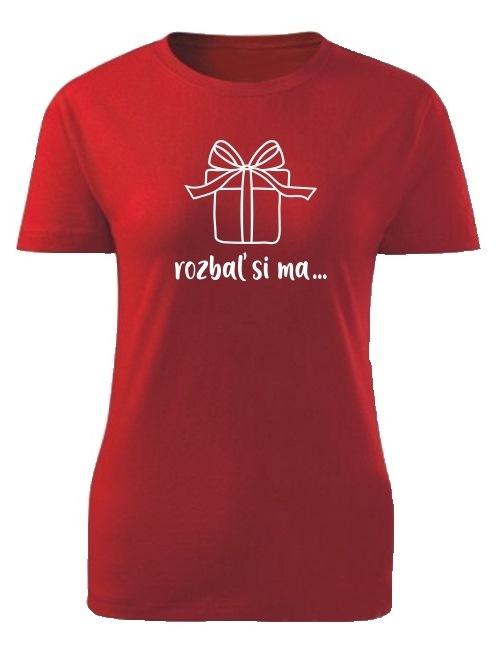 Tričko rozbaľ si ma Dámske klasik Červené