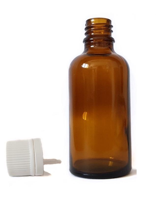 Sklenená fľaška 18mm hrdlo + uzáver s kvapátkom 50ml