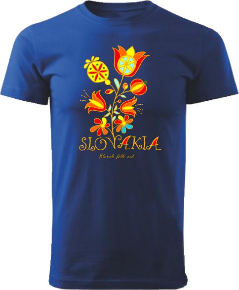 Tričko Slovakia kvet Unisex Kráľovské modré