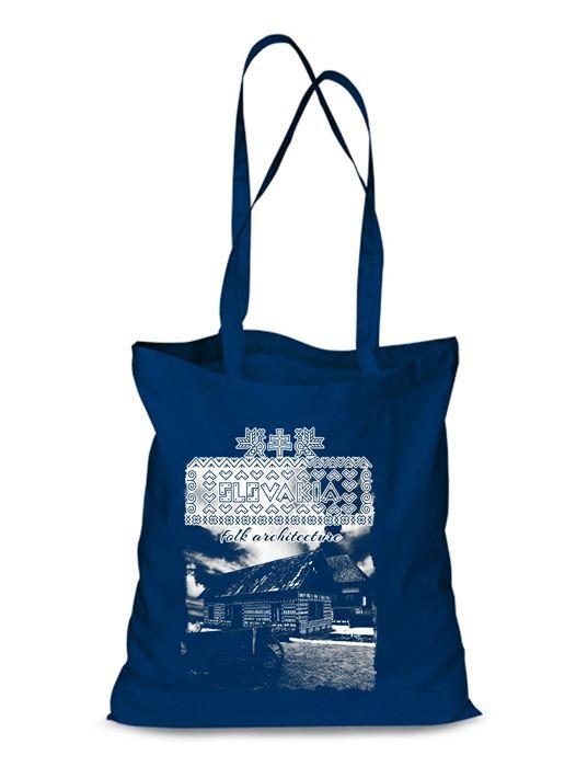 Plátená EKOlogická taška Čičmany chalúpky - dlhá rúčka Modrá