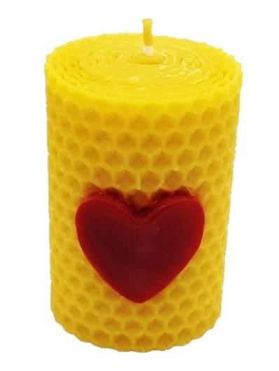 Sviečka včelí vosk žltá srdce 70mm/50mm