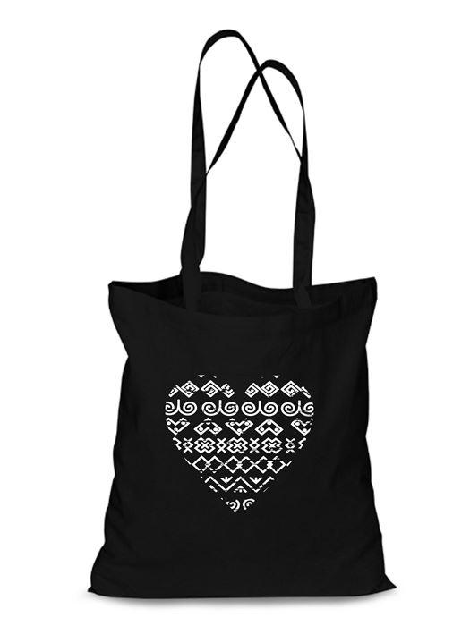 Plátená EKOlogická taška čičmanské srdce - dlhá rúčka Čierna
