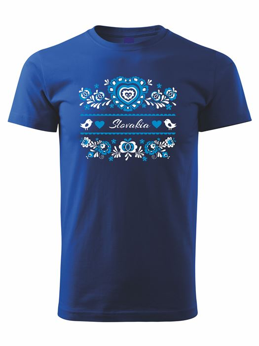 Tričko modrý ornament Unisex Kráľovské modré