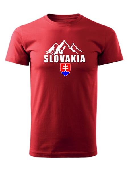 Tričko Slovakia tatranské štíty Unisex Červené