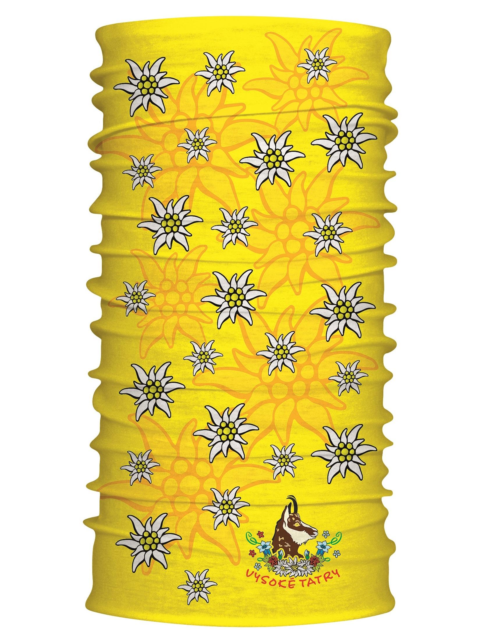 Multifunkčný šál Vysoké Tatry kamzík žltá 7113