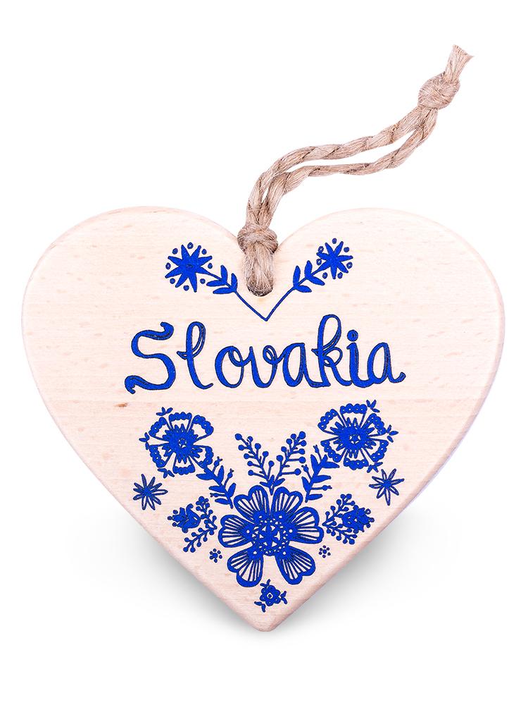 Drevené srdce Slovakia kvety - modré
