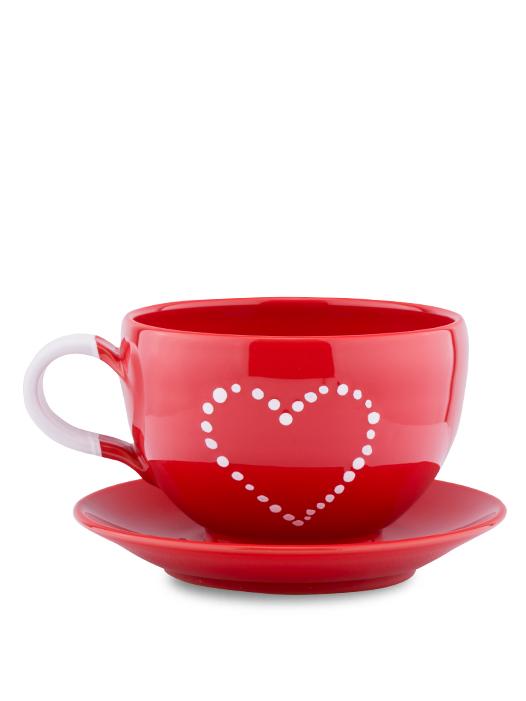 Šálka s tanierikom červená srdce bodky