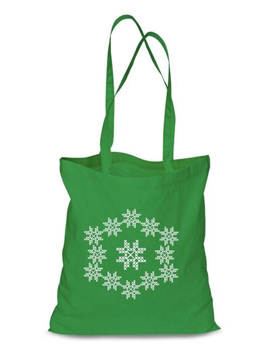 Plátená EKOlogická taška výšivka 09 - dlhá rúčka Zelená