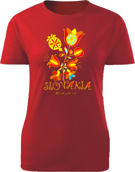 Tričko Slovakia kvet Dámske klasik Červené