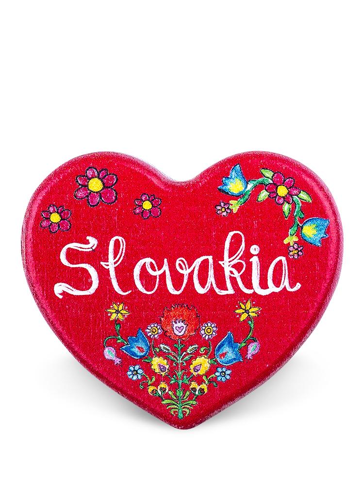 Drevená magnetka Slovakia kvietky červená