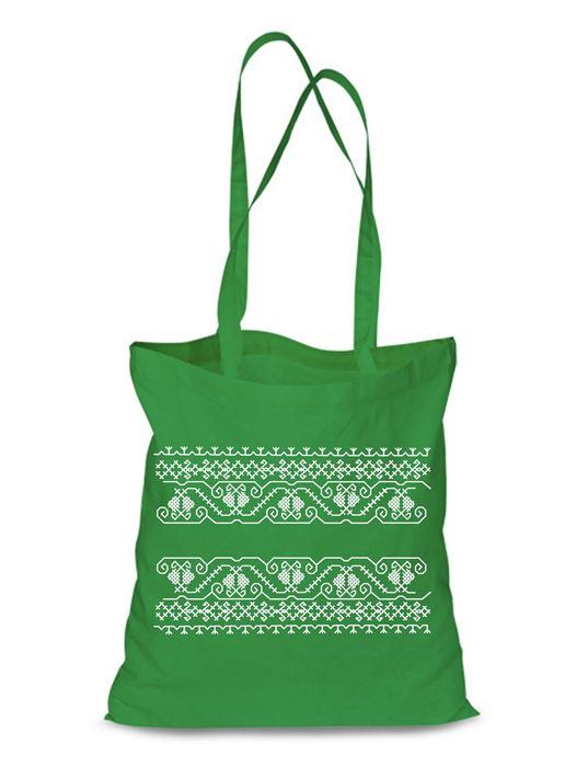 Plátená EKOlogická taška výšivka 07 - dlhá rúčka Zelená