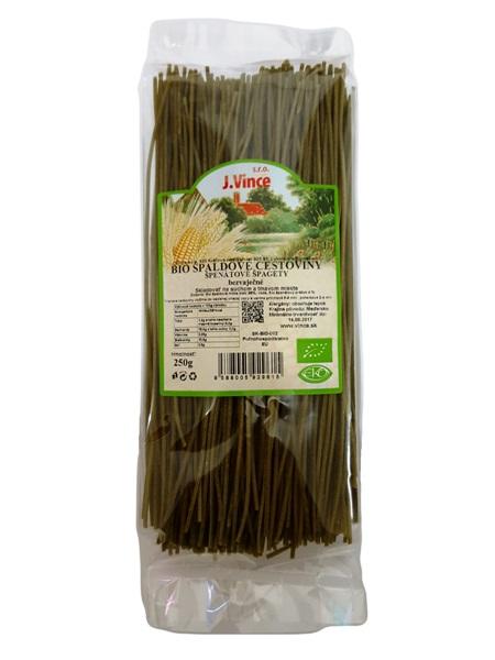BIO Špenátové špagety - špaldové cestoviny bezvaječné 250g