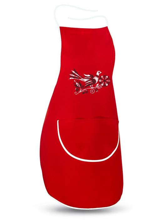 Ľudová zástera bažant retro Červená