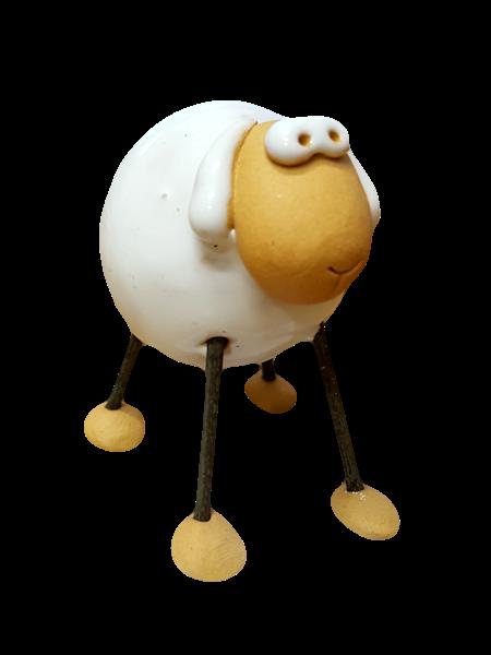 Ovečka keramická biela