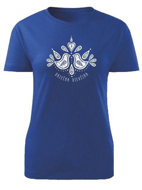 Tričko driečna dievčina folk Dámske klasik Kráľovské modré