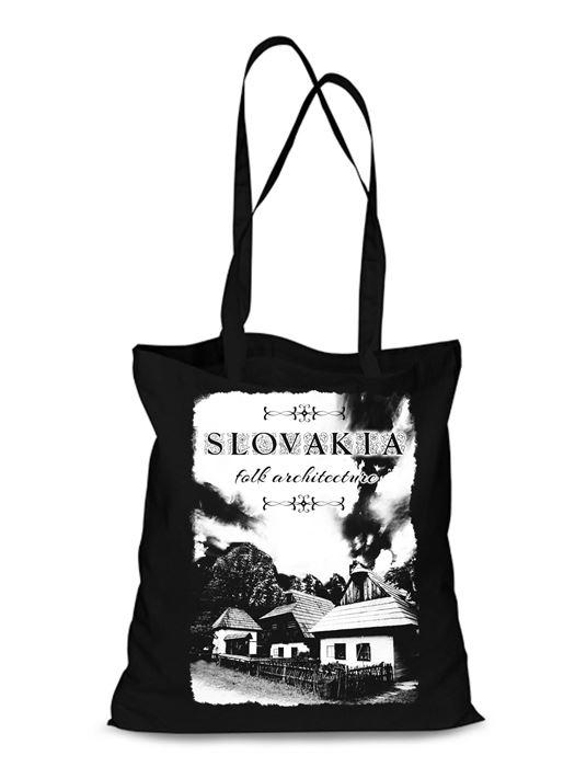 Plátená EKOlogická taška chalúpky - dlhá rúčka Čierna
