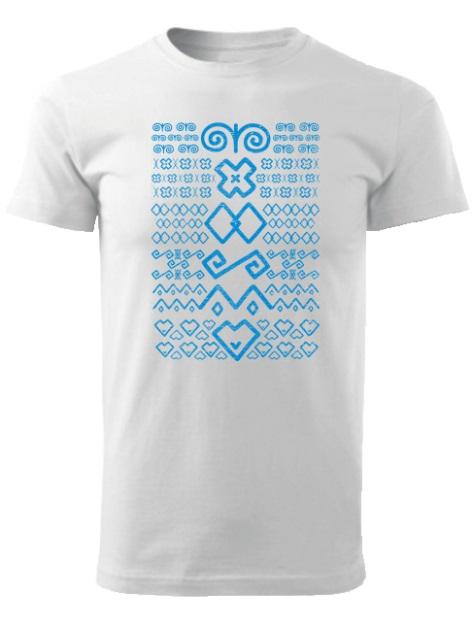 Tričko čičmany znaky retro Unisex Biele