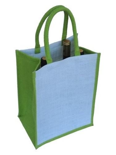 Jutová taška na 6 fľaší limetka
