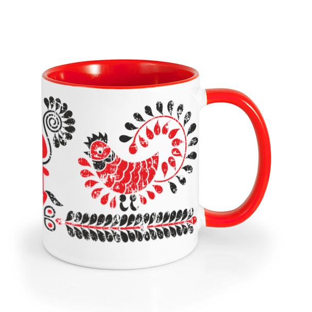 Ľudový hrnček ľudový kohút retro Červený