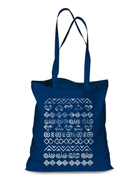 Plátená EKOlogická taška Čičmany retro - dlhá rúčka Modrá