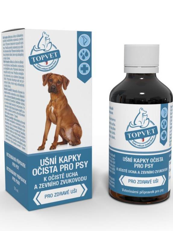 TOPVET Ušné kvapky očista pre psov 50ml