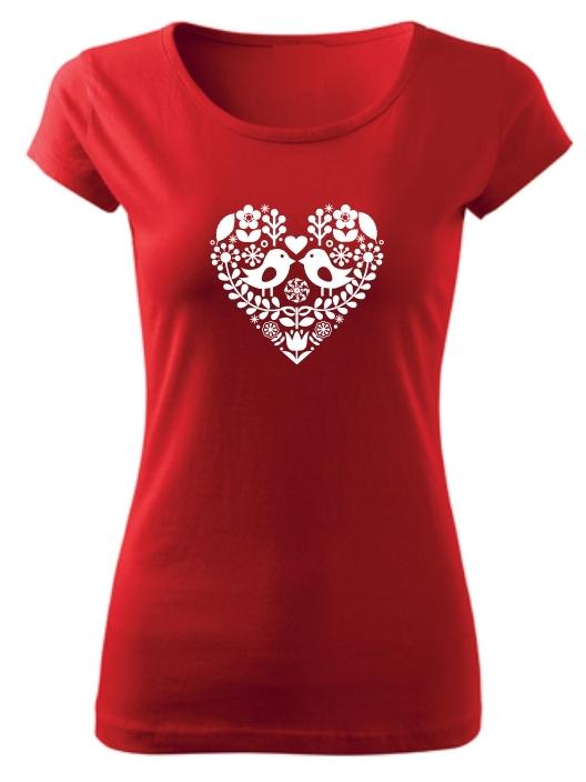 Tričko folklórne srdce biele Pure Červené