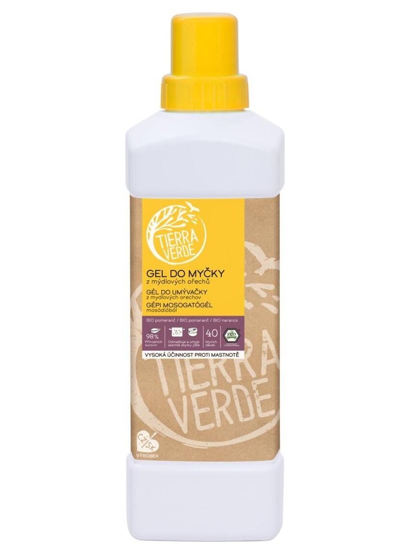 Tierra Verde Gél do umývačky riadu z mydlových orechov s BIO pomarančovou silicou - fľaša 1L