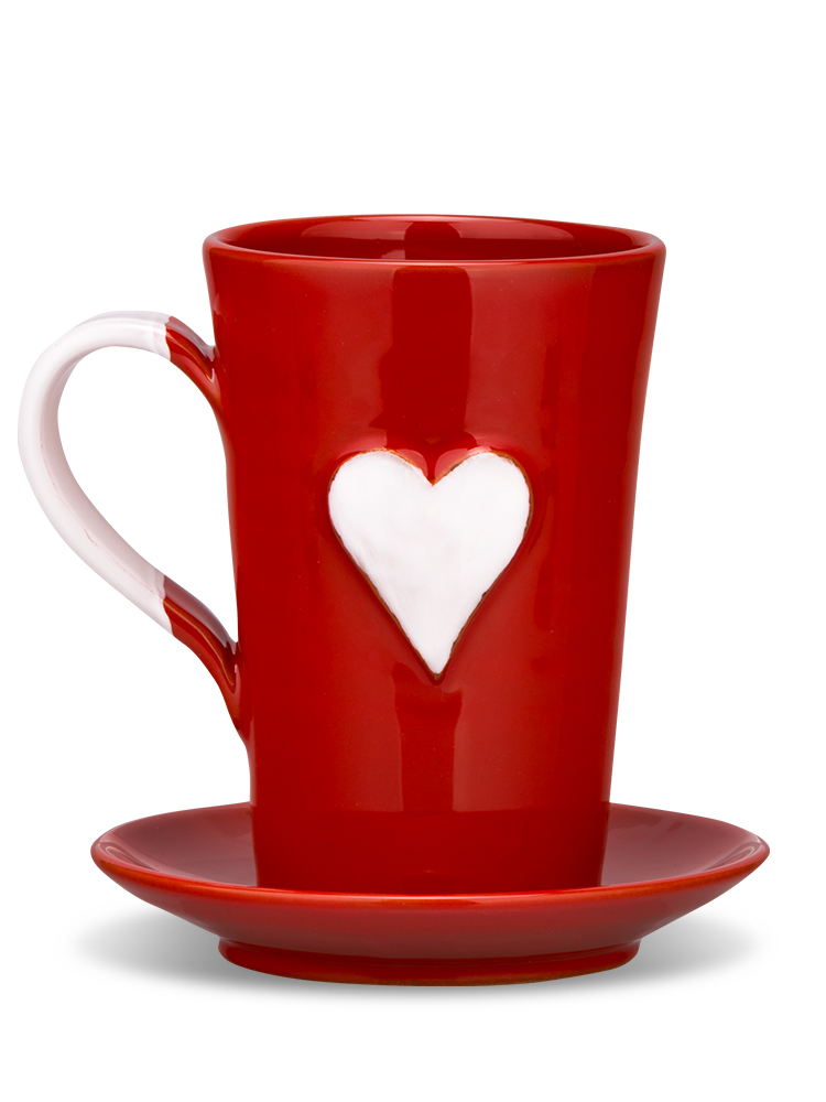 Hrnček srdiečko červený srdce biele