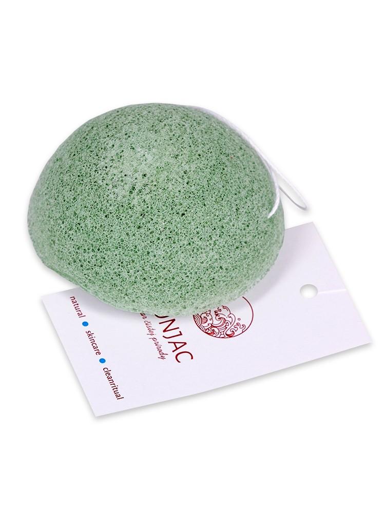 Konjac Pleťová špongia polguľa svetlo-zelená - aloe vera
