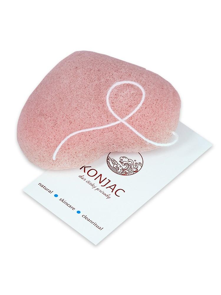 Konjac Pleťová špongia srdce ružové - ružový íl