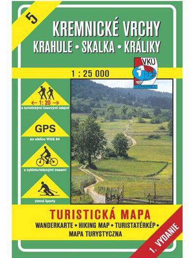 Kremnické vrchy - Krahula - Skalka - Králiky 5 Turistická mapa 1:25 000