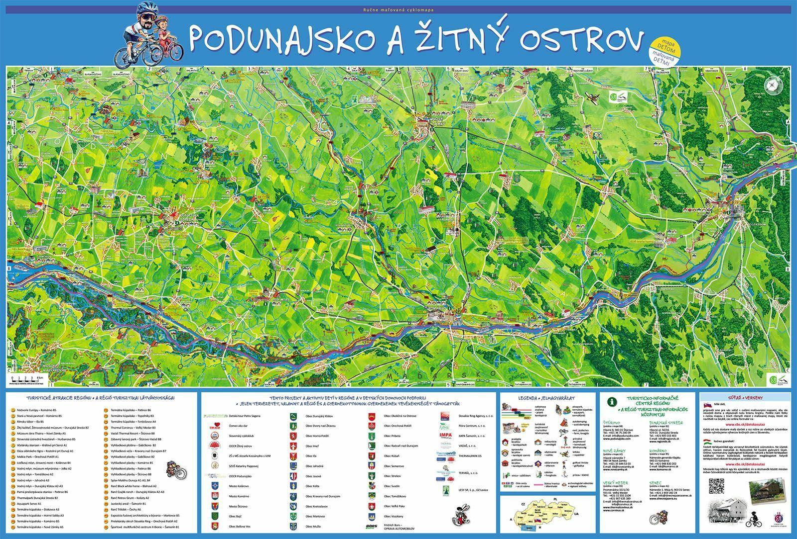 Podunajsko a Žitný ostrov maľovaná cyklomapa
