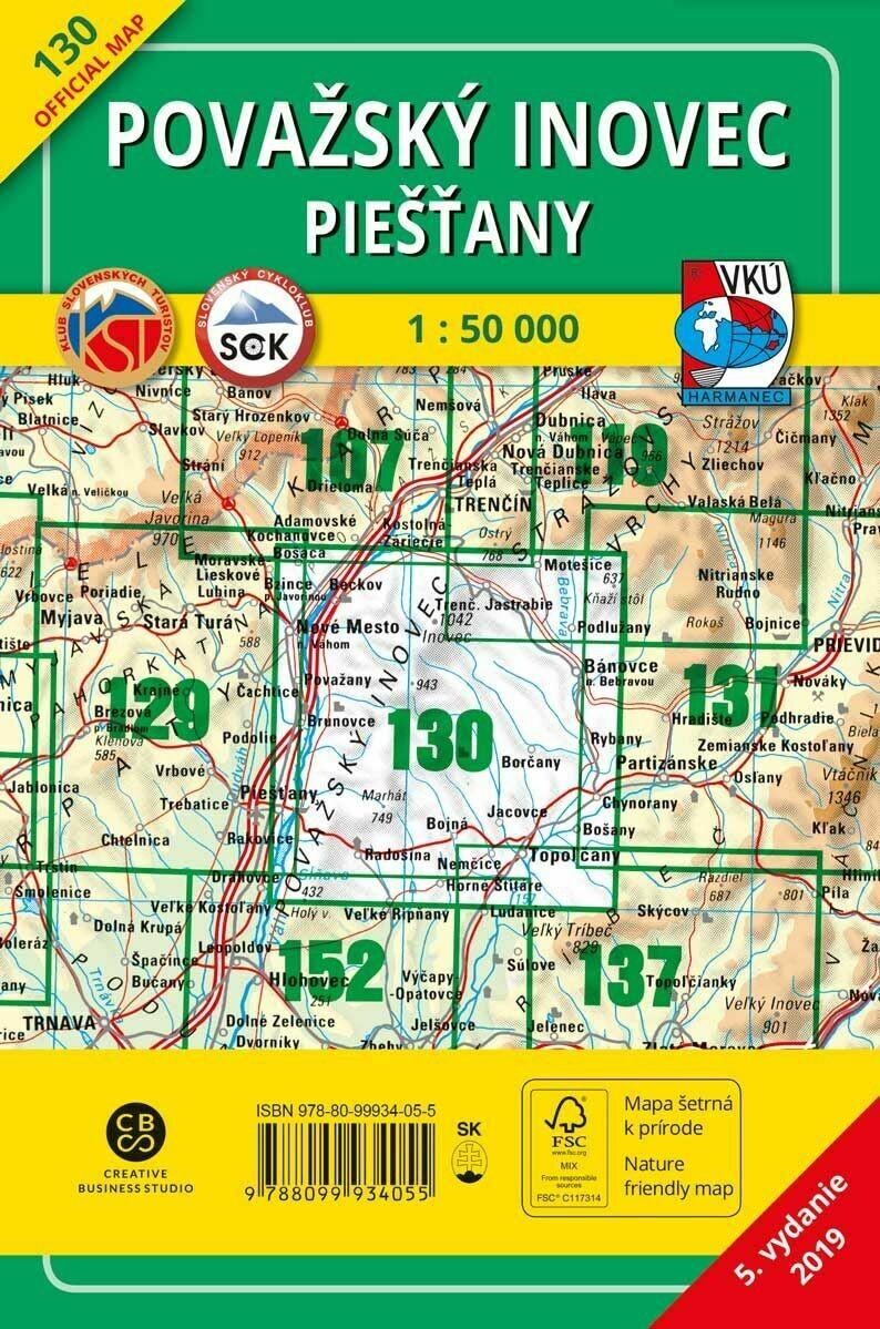 Považský Inovec - Piešťany 130 Turistická mapa 1:50 000