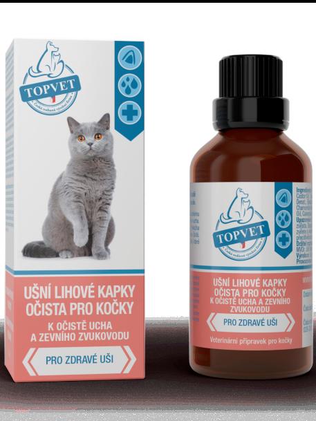 Topvet Ušné liehové kvapky očista pre mačky 50ml
