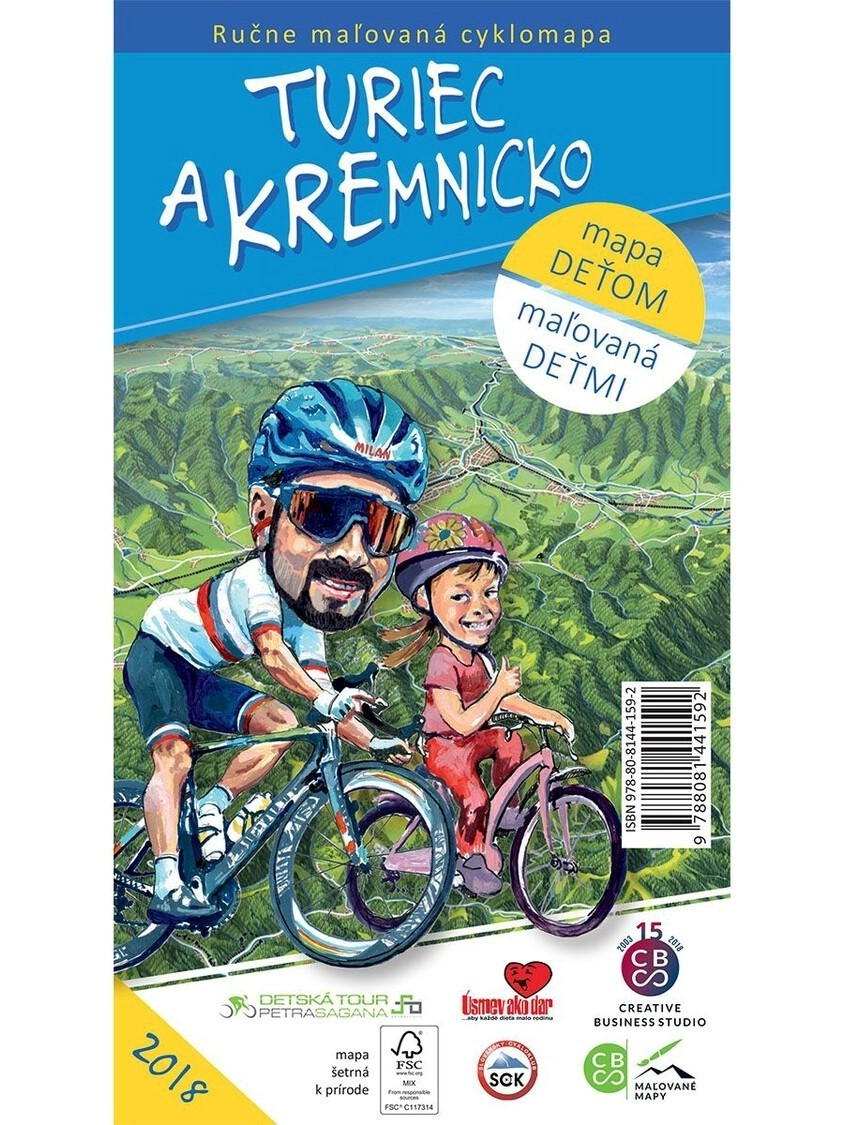 Turiec a Kremnicko maľovaná cyklomapa
