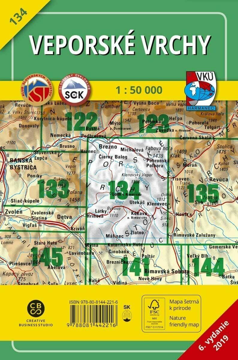 Veporské vrchy 134 Turistická mapa 1:50 000