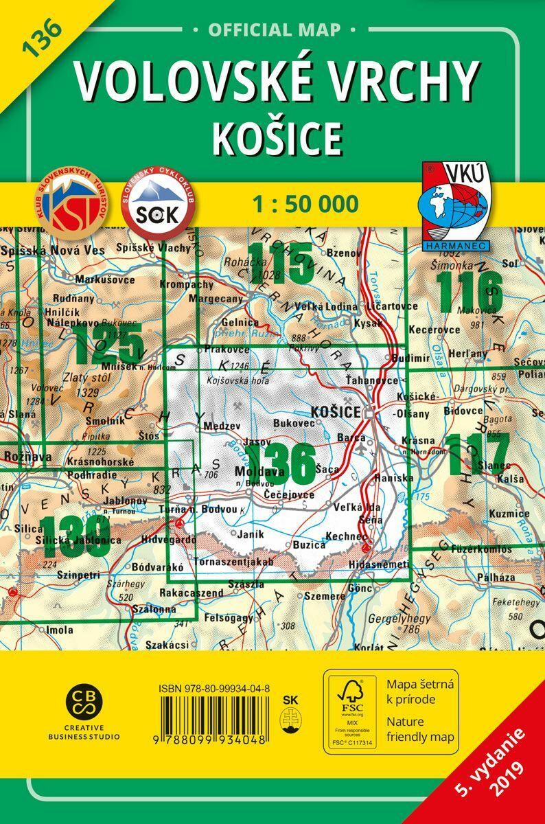 Volovské vrchy - Košice 136 Turistická mapa 1:50 000